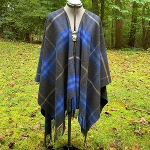 Burberry wool and cashmere blue and charcoal gray shawl/wrap with fringe